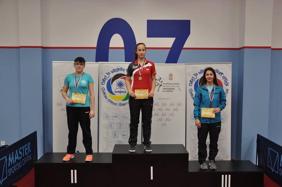 Pobednice u konkurenciji srednjoškolki pojedinačno (foto: Školski sport Srbije)